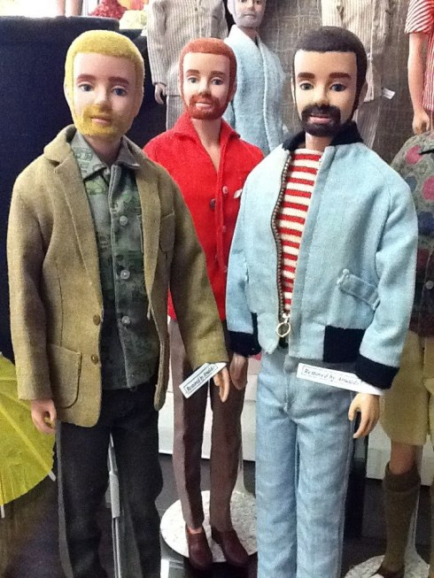 Bearded and Flocked Ken dolls