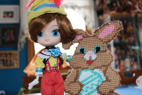 Pinoccio visits with the Easter Bunny