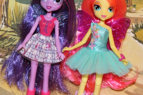 Basic Twilight Sparkle next to the deluxe Fluttershy.  See the differences in the body?