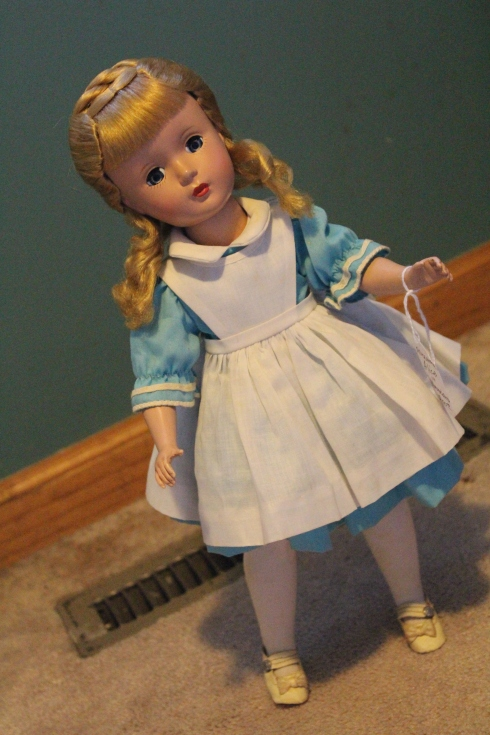 "My purchase- A 14"" Madame Alexander Amy dressed as Alice in a tagged MA outfit"