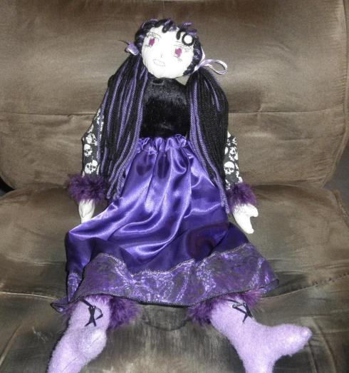Homemade doll, Violet (cloth with yarn hair)